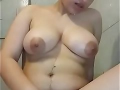 Very hot sexy  chubby girl with big white boobs taking bath  fingering her pussy